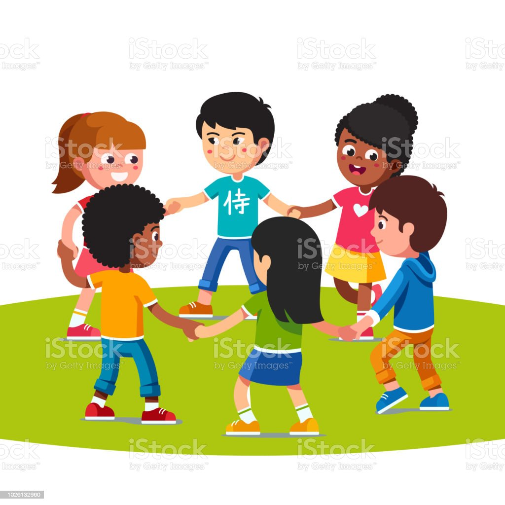 Happy multiethnic children playing dancing in circle holding hands together. Kids friends having fun. Flat vector clipart illustration. vector art illustration