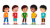 Happy multiethnic preschool boys standing in line. Smiling diverse kids cartoon characters set. Multiracial children. Caucasian, African American, Asian, Indian, Chinese kids. Flat vector illustration isolated on white background.