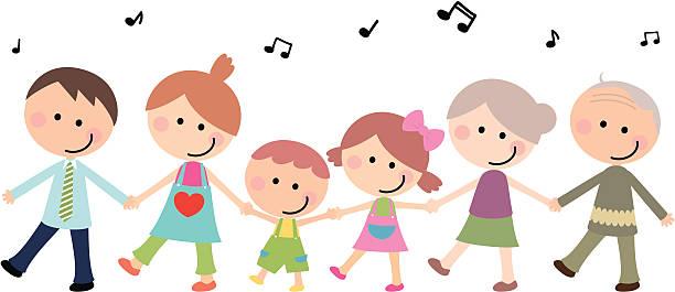 illustrazioni stock, clip art, cartoni animati e icone di tendenza di felice multi-generazione famiglia tenendo le mani - nonna e nipote camminare