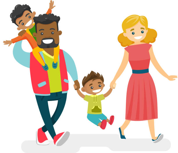 Happy multiracial family walking and having fun Happy smiling multiracial family walking and having fun together. Young cheerful Caucasian white mother and African-american father with kids strolling. Vector isolated cartoon illustration. isolated color stock illustrations