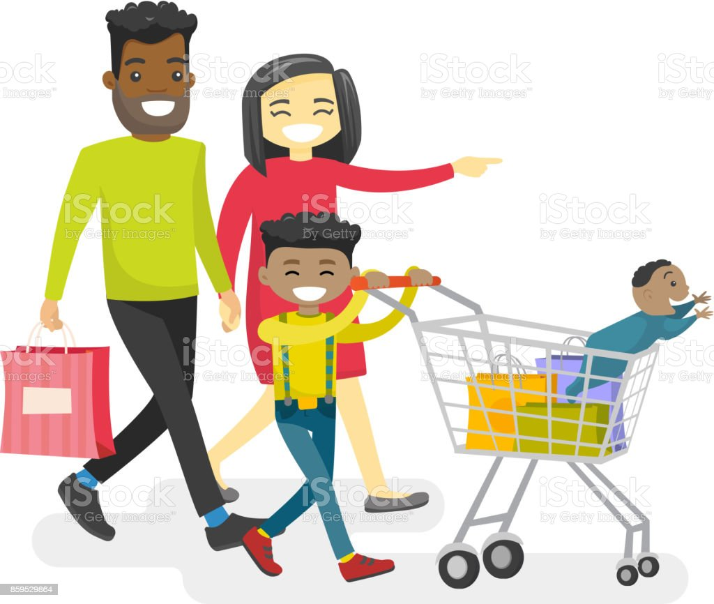 royalty free african american family shopping clip art vector rh istockphoto com african american family clip art images cartoon african american family clipart