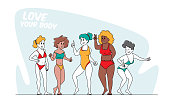 istock Happy Multiracial, Multicultural Girls Characters of Different Ages, Size and Ethnicity in Swim Suits, Body Positive 1283397264