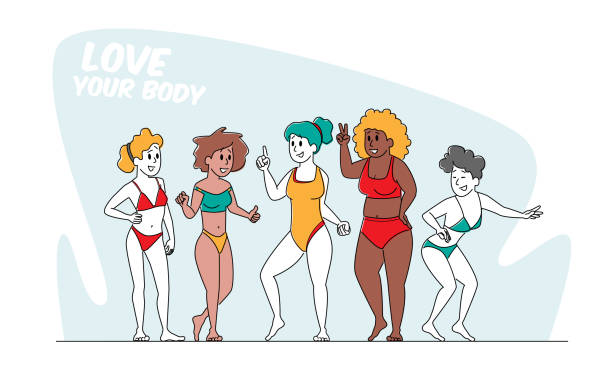 Happy Multiracial, Multicultural Girls Characters of Different Ages, Size and Ethnicity in Swim Suits, Body Positive Company of Happy Multiracial, Multicultural Girls Characters of Different Ages, Size and Ethnicity Stand in Row in Swim Suits, Body Positive Women Diversity Concept. Linear People Vector Illustration active lifestyle stock illustrations