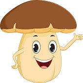 vector illustration of happy mushroom cartoon