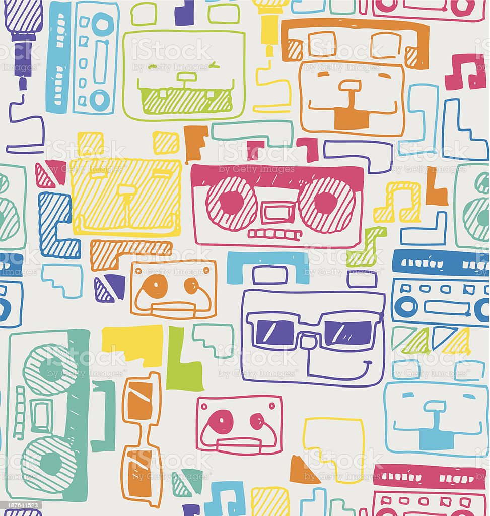 happy music02 vector art illustration