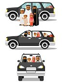Arab people father, mother, children in traditional islamic clothes sitting in black automobile and standing together. Vector illustration in flat style isolated on white background.