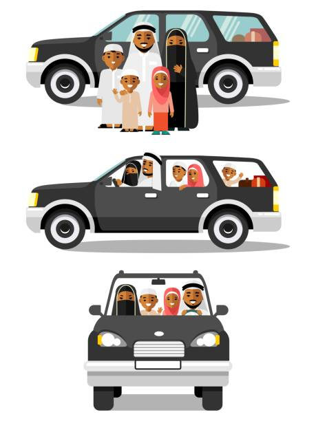 happy muslim arabic family traveling by car in different views - arab stock illustrations