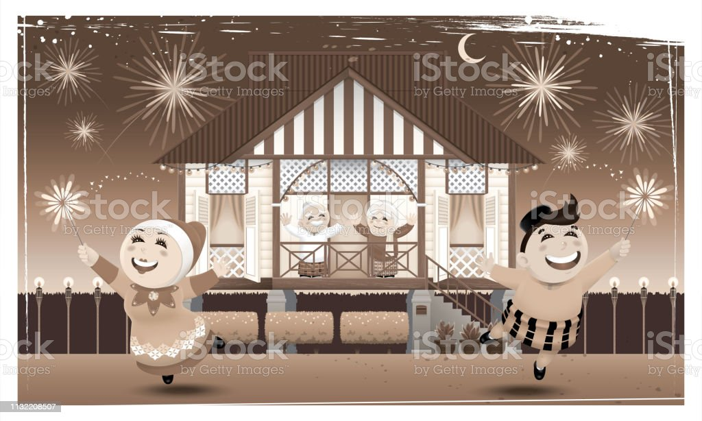 A happy Muslim family and their home town in rural area. vector art illustration
