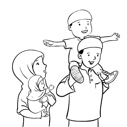 Happy Muslim Familyvector Illustration Stock Illustration