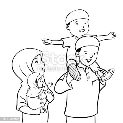 Happy Muslim Familyvector Illustration Stock Vector Art More