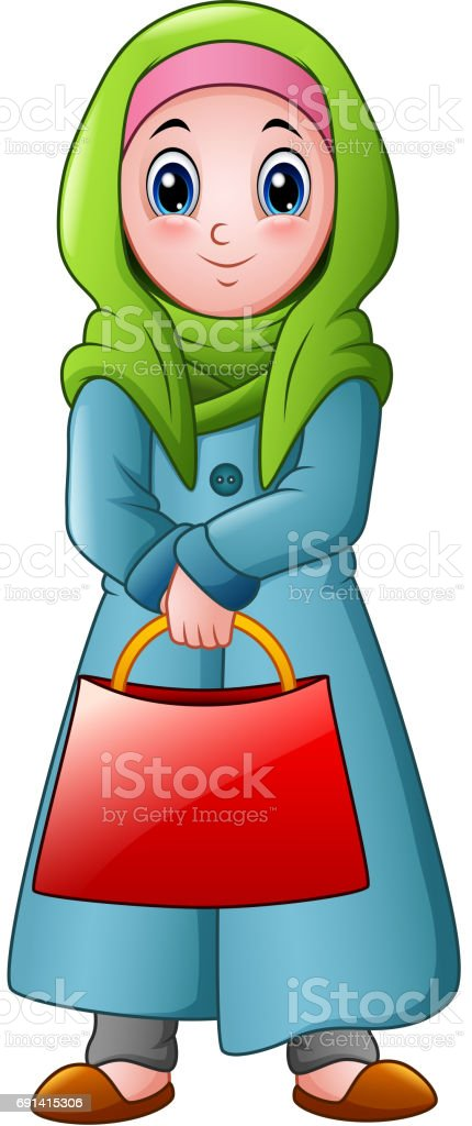 Happy muslim girl holding red bag vector art illustration