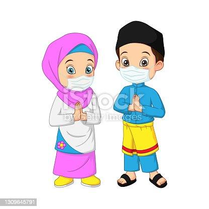 istock Happy Muslim kid cartoon wearing face mask 1309645791