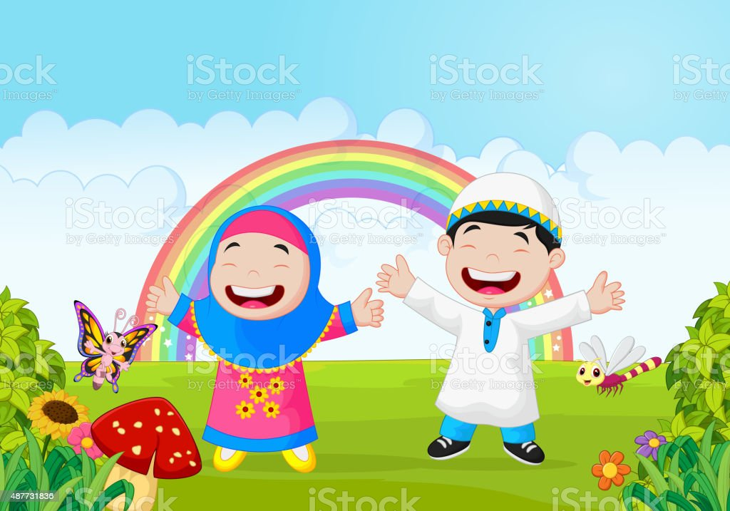 happy muslim kid waving hand with rainbow stock illustration download image now istock 2