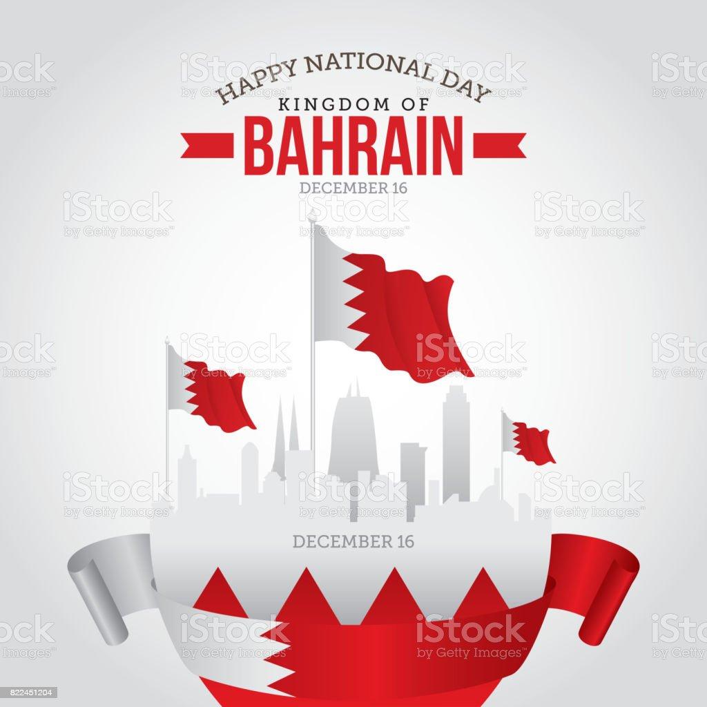 Happy National Day Of Bahrain vector art illustration