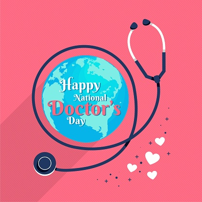 Happy National Doctor's Day, globe and doctor stethoscope, illustration vector