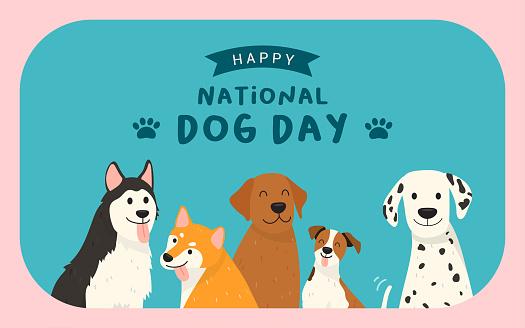 Happy National Dog Day greeting card vector design. Cute cartoon dogs on blue background
