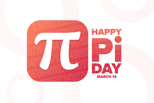 Happy National Pi Day. March 14. Holiday concept. Template for background, banner, card, poster with text inscription. Vector EPS10 illustration