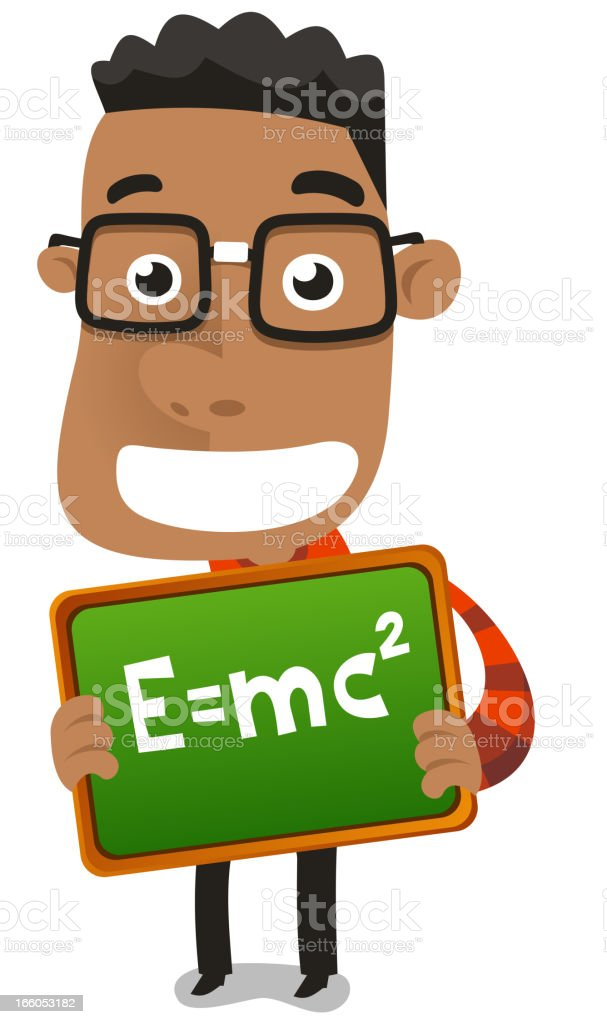 Happy nerd geek child boy holding proudly maths formula royalty-free stock vector art