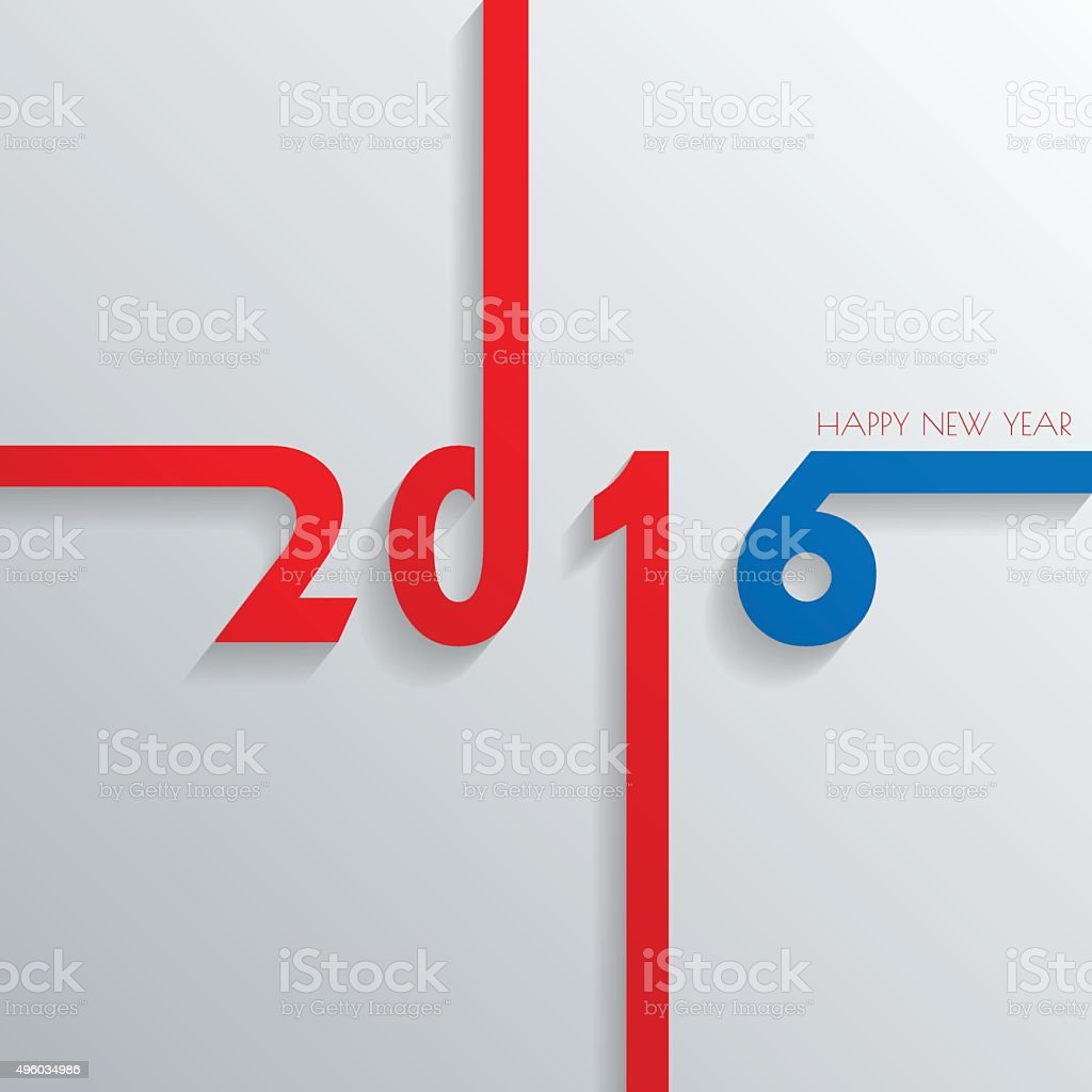 Happy New 2016 Year Greetings Card Colorful Design Vector Ill Stock
