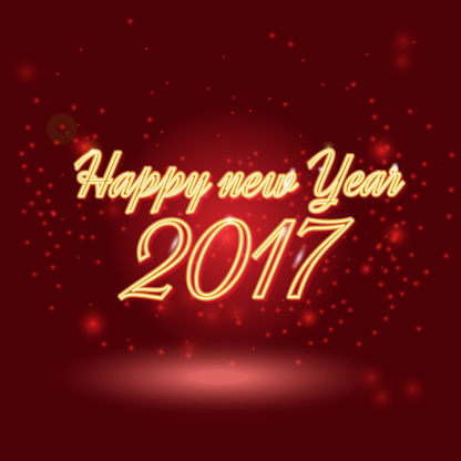 Happy New 2017 Year. Vector holiday illustration of glowing neon 2017 sign with shiny abstract energy sparkle light effect. Happy new year neon lettering greeting shine card.
