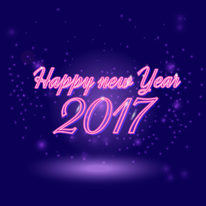 Happy New 2017 Year. Vector holiday illustration of glowing neon 2017 sign with shiny abstract energy sparkle light effect. Happy new year neon lettering greeting shine card