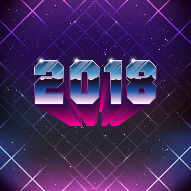 Happy New 2018 Year Greetings Card in 80s Retro Sci-Fi style. Vector futuristic synth retro wave illustration in 1980s posters style. vector art illustration