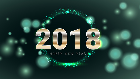 Happy New 2018 Year shiny glowing blue and silver greeting card. Vector illustration. Wallpaper background