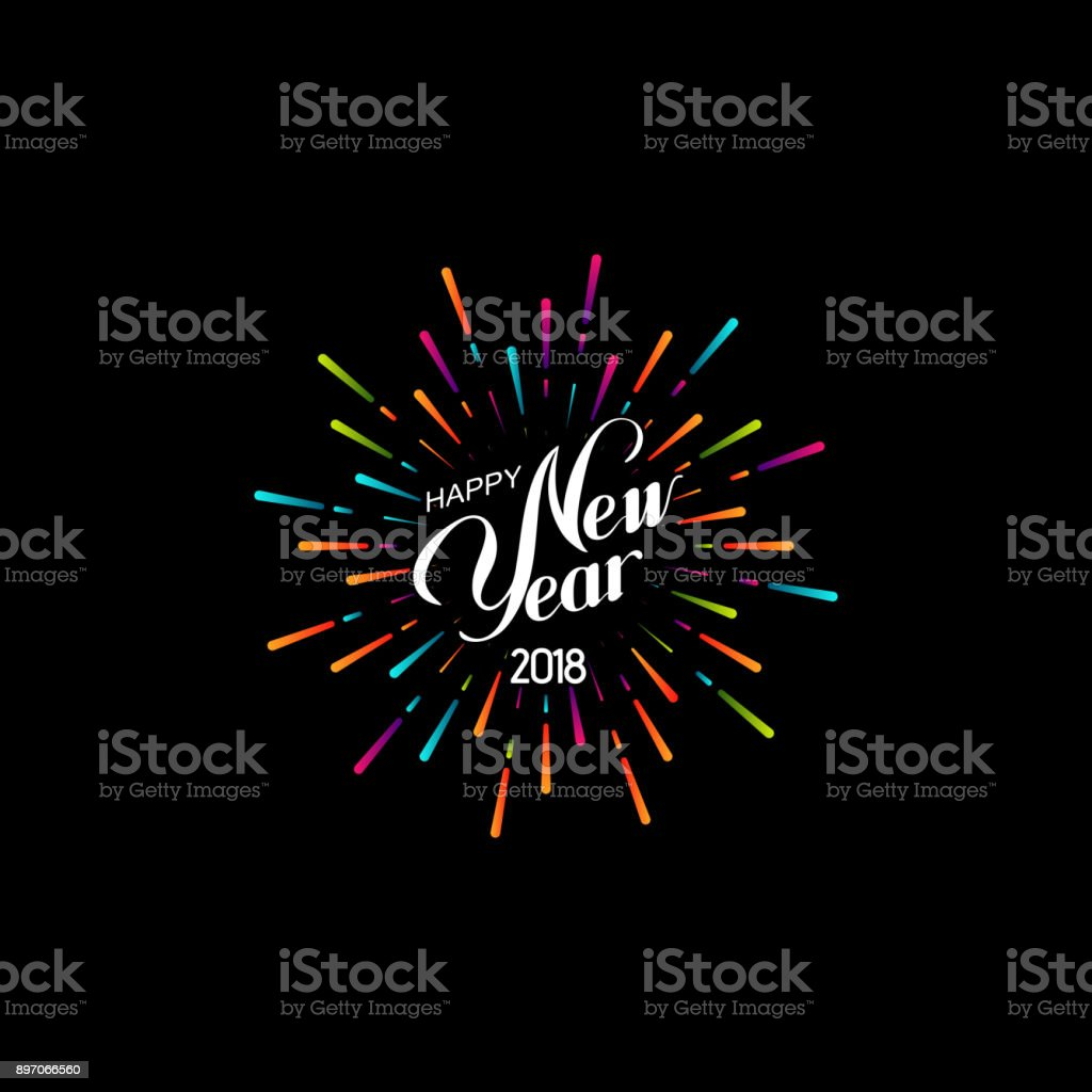 Happy New 2018 Year. Happy New 2018 Year. Retro label with multicolored burst or light rays. Vector holiday illustration. Festive firework or confetti explosion. Vintage sign. Decoration element for design 2018 stock vector
