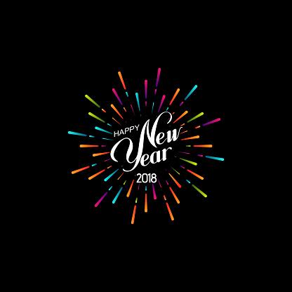 Happy New 2018 Year - Arte vetorial de stock e mais imagens de 2018
