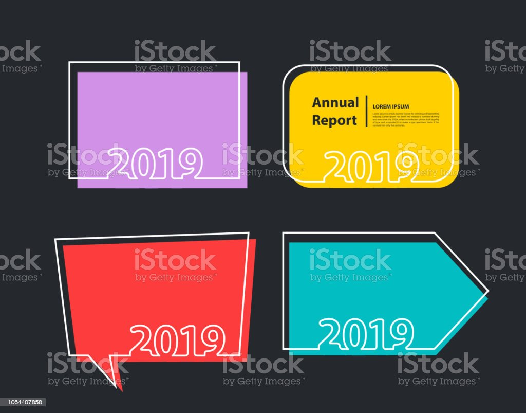 happy new 2019 year background flyers trendy flat invitation posters brochure banners