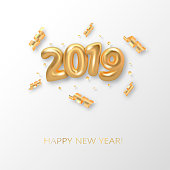 Happy New 2019 Year background. Golden metallic numbers 2019 and shining confetti particles and ribbons. Vector 3d gold numbers isolated on white. Holiday poster or banner design