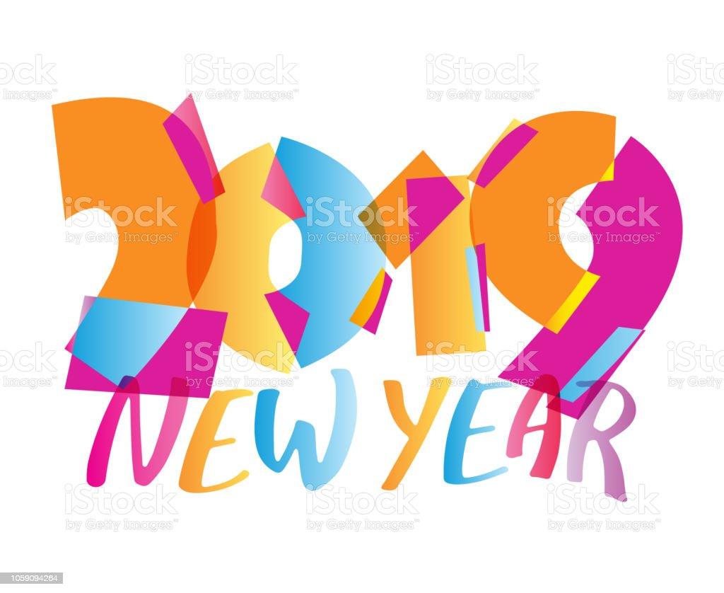 Mutlu Yeni Yıl 2019 Renk Tasarım şablonu Afiş Stok Vektör Sanatı