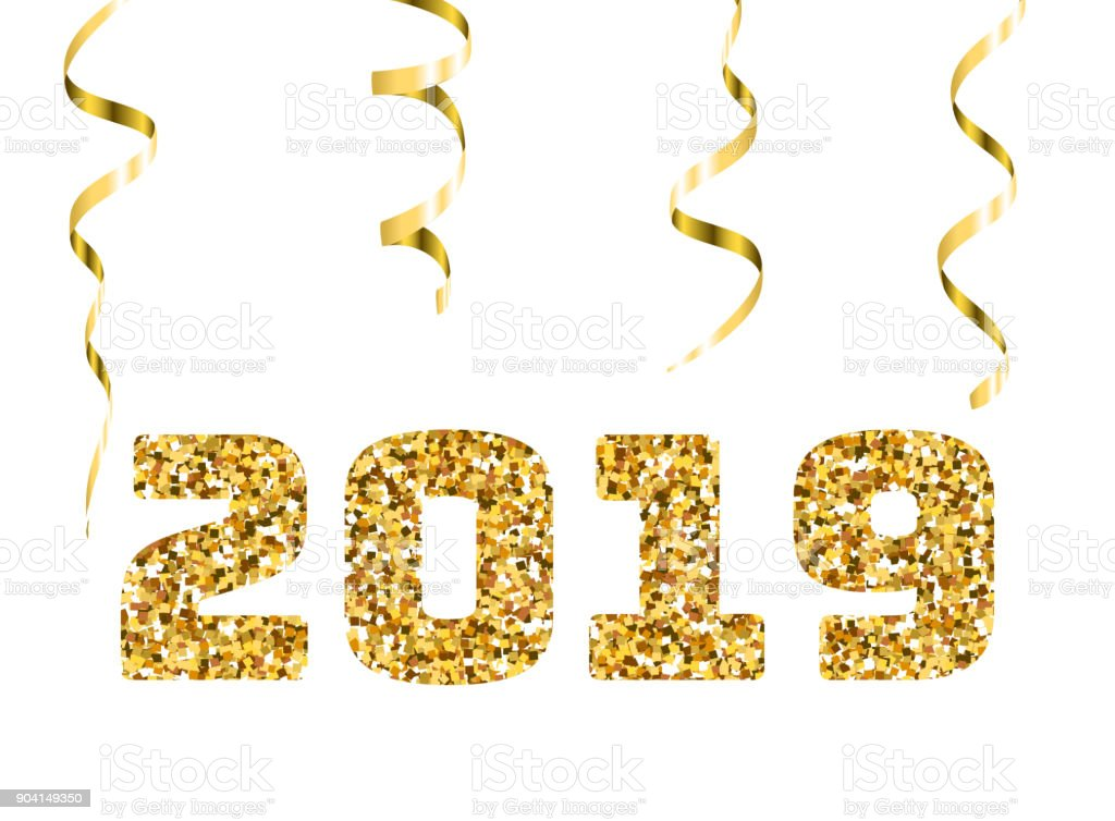 Happy New 2019 Year Gold Glitter Particles And Sparkles Holidays