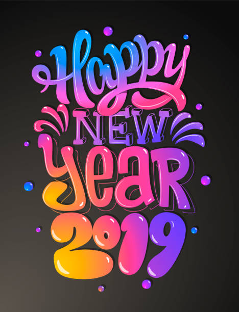happy new 2019 year. greetings card. colorful lettering design. vector illustration - happy holidays stock illustrations