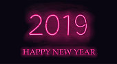 Happy New 2019 Year. Vector holiday illustration of glowing neon 2019 sign