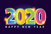 Happy New 2020 Year - cute template poster banner art postcard
