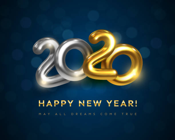 Happy New 2020 Year greeting card with text May All Dreams Come True vector art illustration