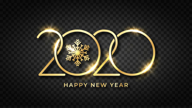 Happy new 2020 year! Shiny gold text and snowflake with stylized 2020 number. Happy New Year text design on transparent background. Luxury golden text for greeting card, banner and postcard vector art illustration
