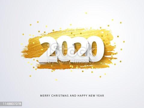 istock Happy New 2020 Year. Vector holiday illustration 1148837078