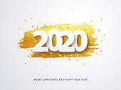 Happy New 2020 Year. Vector holiday illustration of paper cut numbers with sparkling confetti and golden strokes on white background