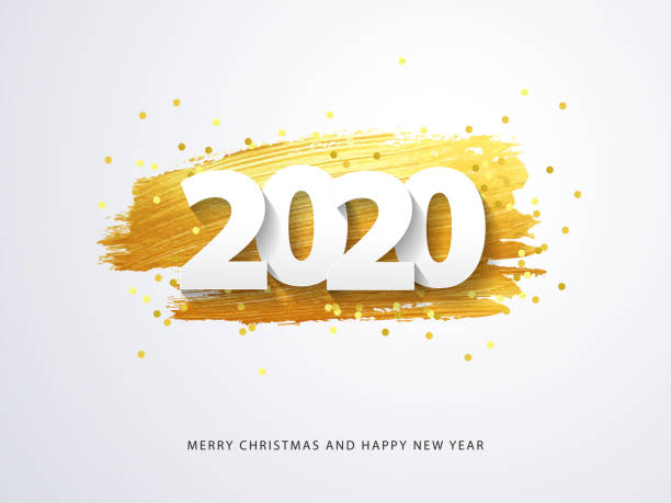 Happy New 2020 Year. Vector holiday illustration Happy New 2020 Year. Vector holiday illustration of paper cut numbers with sparkling confetti and golden strokes on white background 2020 stock illustrations