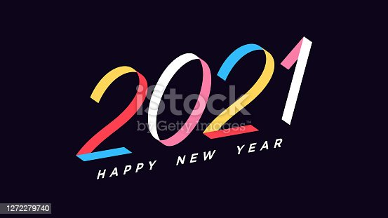 istock Happy New 2021 Year. Colorful inclined number 2021, ribbon digits with skew 1272279740