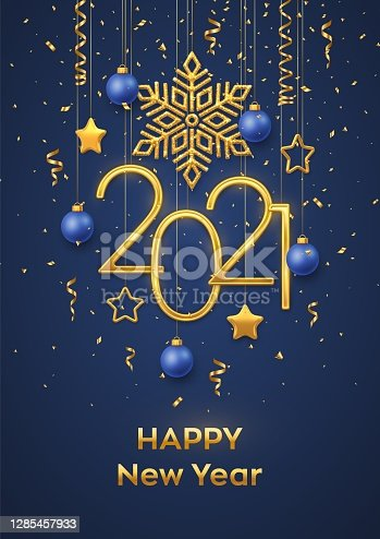 istock Happy New 2021 Year. Hanging Golden metallic numbers 2021 with shining snowflake, 3D metallic stars, balls and confetti on blue background. New Year greeting card or banner template. Vector. 1285457933