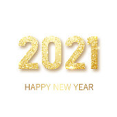 Happy New 2021 Year. Holiday vector illustration of golden metallic numbers 2021. Realistic gold vector sign. Festive poster or banner design. Vector illusration EPS 10