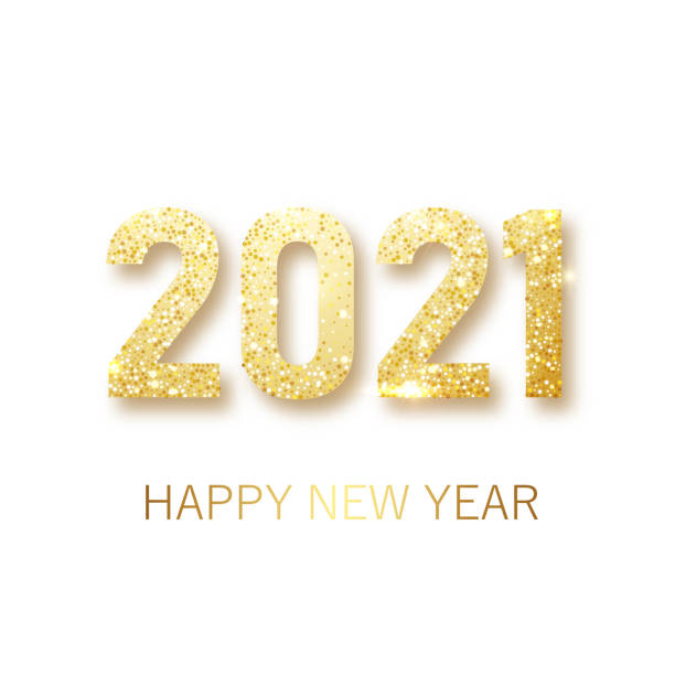 Happy New 2021 Year. Holiday vector illustration of golden metallic numbers 2021. Realistic gold vector sign. Festive poster or banner design Happy New 2021 Year. Holiday vector illustration of golden metallic numbers 2021. Realistic gold vector sign. Festive poster or banner design. Vector illusration EPS 10 happy new year 2021 stock illustrations