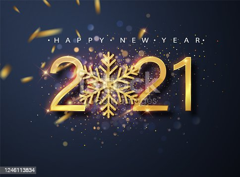Happy New 2021 Year. Holiday vector illustration of golden metallic numbers 2021 and sparkling glitters pattern.Holiday greetings.