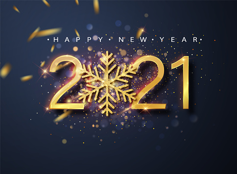 Happy New 2021 Year. Holiday vector illustration of golden metallic numbers 2021 and sparkling glitters pattern.Holiday greetings