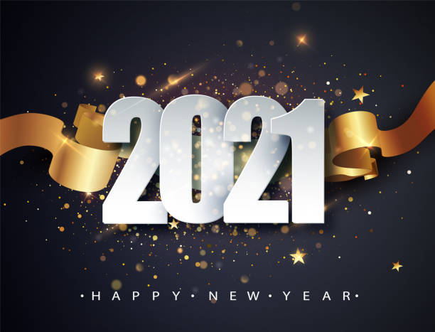 Happy new 2021 year. Winter holiday greeting card design template. New Year holiday posters. Happy New Year dark festive background Happy new 2021 year. Winter holiday greeting card design template. New Year holiday posters. Happy New Year dark festive background. happy new year 2021 stock illustrations