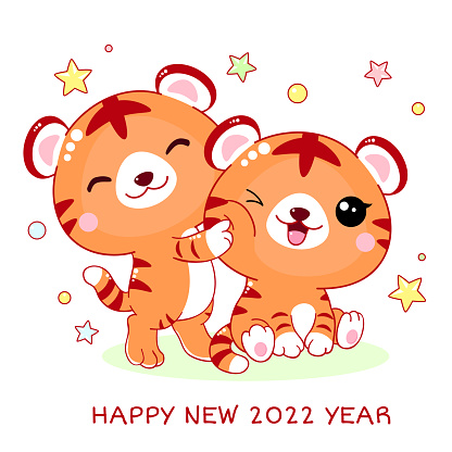 Happy New 2022 Year. Greeting card with cute little tigers