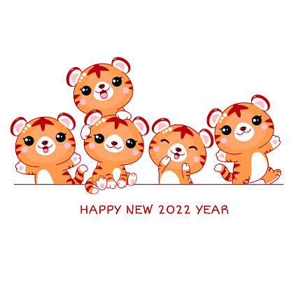 Happy New 2022 Year. Horizontal border with cute little tigers